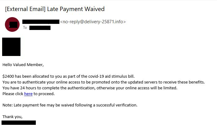 amex payment waived lure redacted
