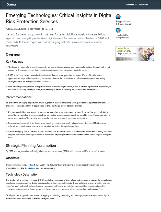 Gartner Emerging Technologies: Critical Insights in Digital Risk Protection Services