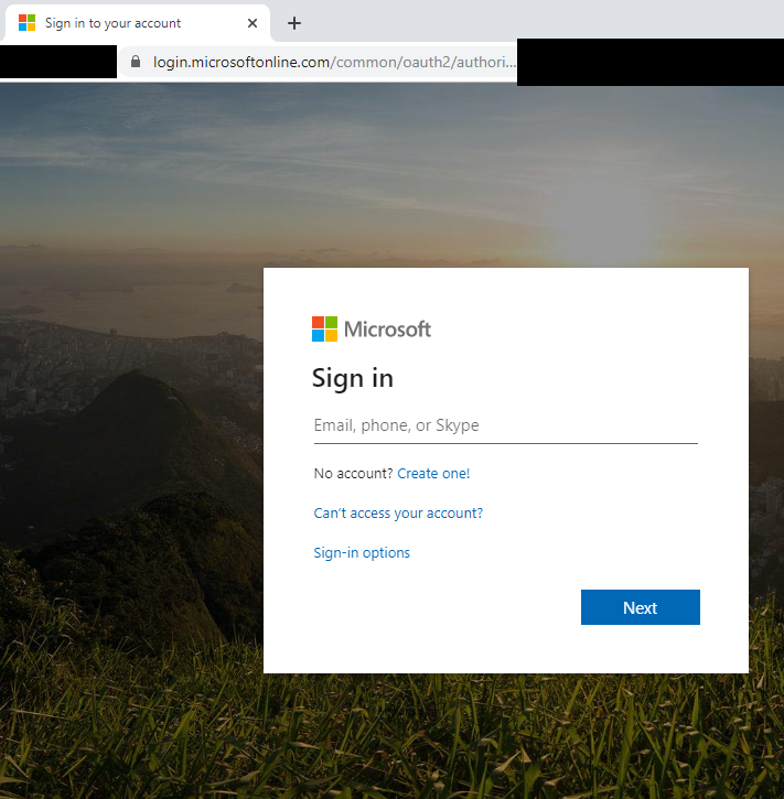 tela de login legítima do office 365 abusada