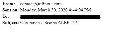 ursnif scam blacked out contact